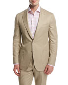 Domenico Cotton Two-Button Blazer, Khaki