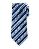 Satin Floral Striped Tie