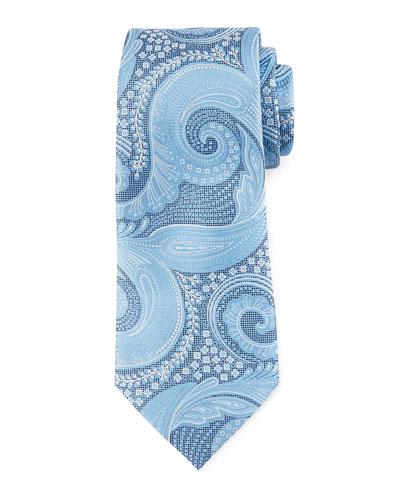 Paisley Floral Silk Tie, Blue