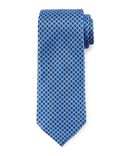 3D Diamond Neat Silk Tie, Blue