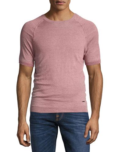 Short-Sleeve Linen Sweater, Pink