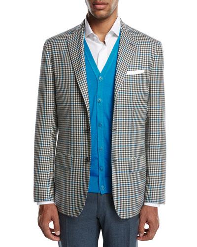 Two-Tone Check Cashmere Sport Coat, White/Black/Blue