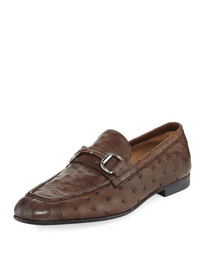 Ostrich Leather Bit-Strap Loafer
