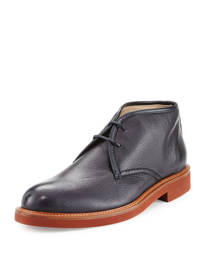 Deerskin Leather Chukka Boot, Navy