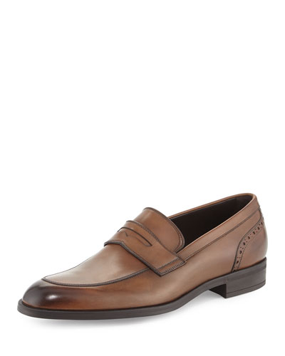 Burnished Calf Leather Penny Loafer, Chestnut