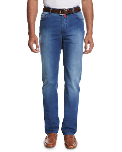 Lightweight Denim Straight-Leg Jeans, Medium Wash Blue