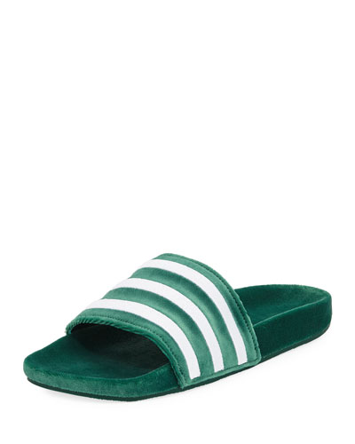 Men's Adilette Striped Velvet Slide Sandal, Green