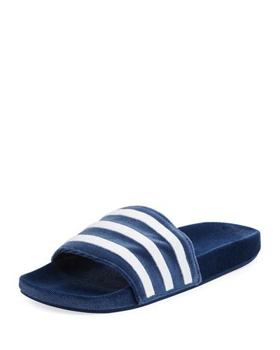 Men's Adilette Striped Velvet Slide Sandal, Blue