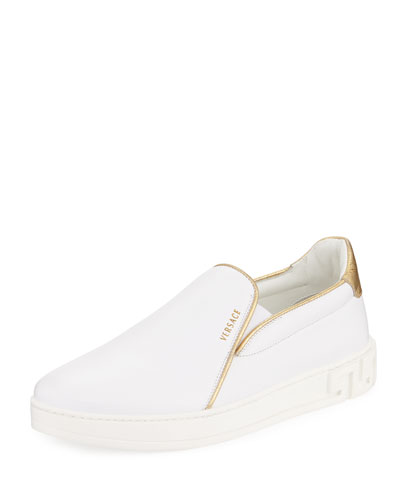 Men's Metallic-Piped Leather Slip-On Sneaker, White
