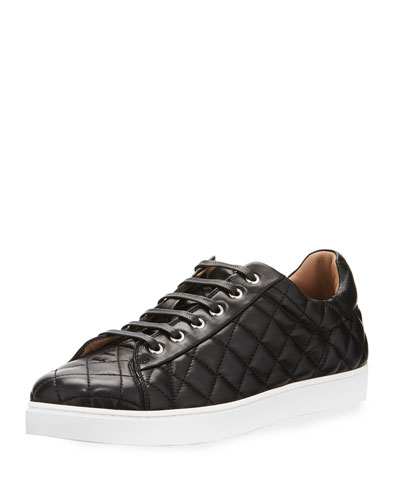 Men's Quilted Leather Low-Top Sneaker, Black (Nero)