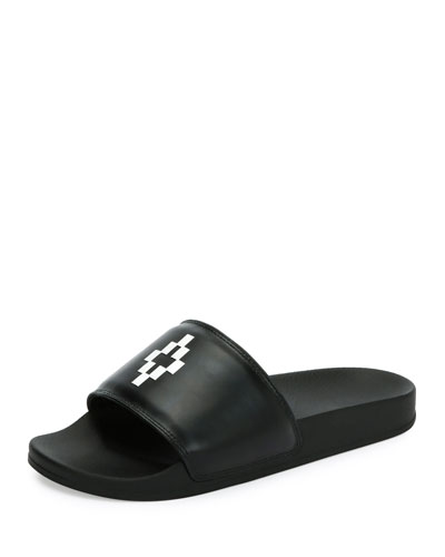 Giulia Leather Pool Slide Sandal, Black