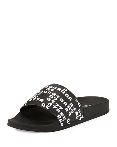 Lea Leather Pool Slide Sandal, Black