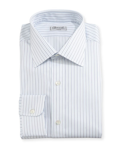 Multi-Stripe Dress Shirt, White/Blue/Black