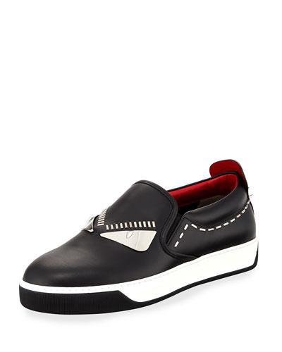 Monster Metal-Stitch Slip-On Sneaker, Black