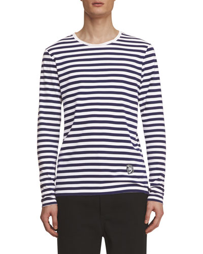Breton-Stripe Long-Sleeve Shirt with Pallas Helmet, Indigo/White