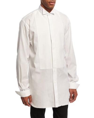 Macramé-Trim Cotton Tuxedo Shirt, White