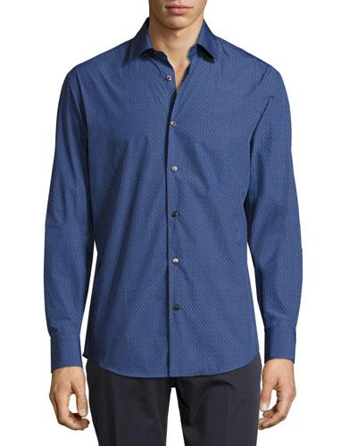 Diamond Gancini-Print Jacquard Sport Shirt, Navy