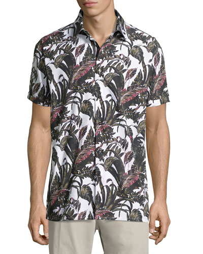 Foliage-Print Short-Sleeve Cotton Sport Shirt, White