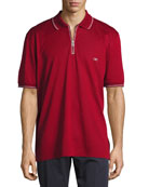 Cotton Piqué Zip Polo Shirt with Gancini Chest Embroidery, Red/White