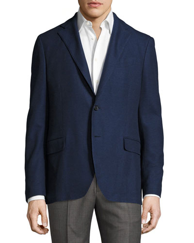 Piqué Cotton Two-Button Blazer, Navy