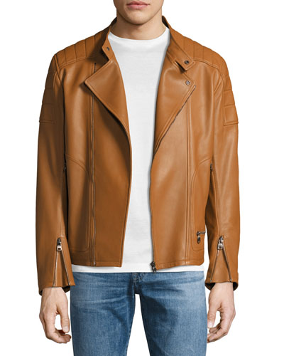 Lambskin Nappa Moto Jacket, Tan