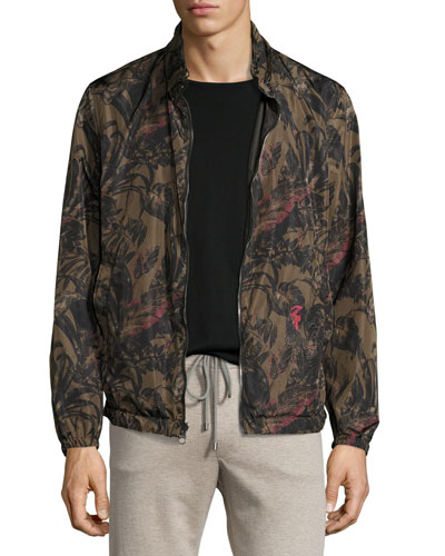 Foliage-Print to Black Reversible Blouson Jacket, Military Green/Black