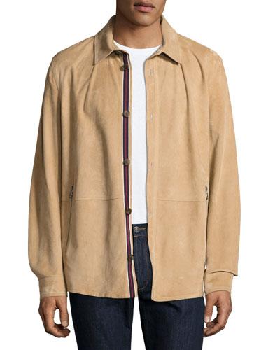 Lamb Suede Shirt Jacket, Tan