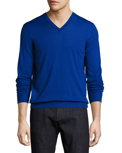 Virgin Wool V-Neck Sweater, Royal Blue
