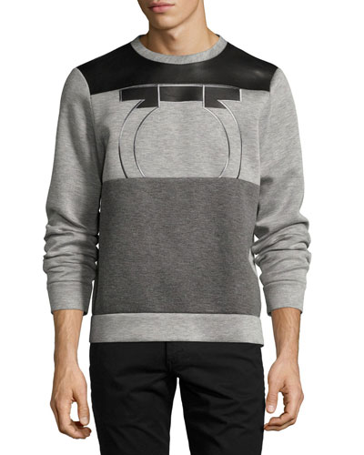 Neoprene & Calfskin Leather Gancio Sweatshirt, Gray/Black