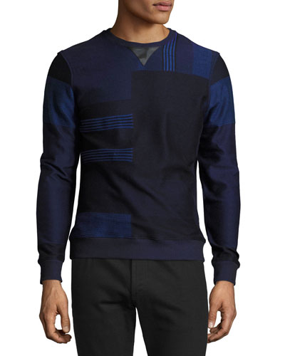 Patchwork Sweater with Leather Trim, Navy