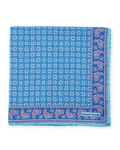 Neat Medallion Pocket Square, Aqua/Navy Blue