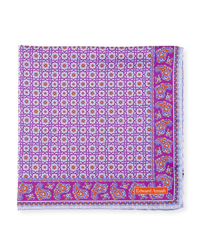 Neat Medallion Pocket Square, Purple/Lavender