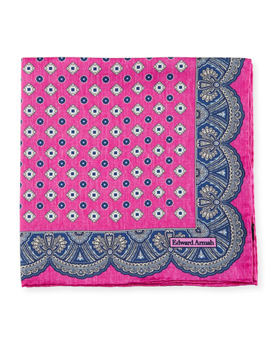 Medallion Pocket Square, Hot Pink