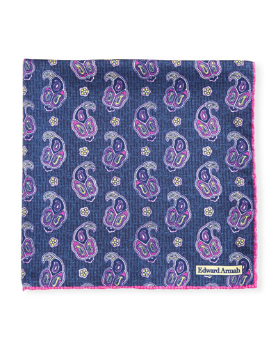Fish Medallion Pocket Square, Navy/Fuchsia