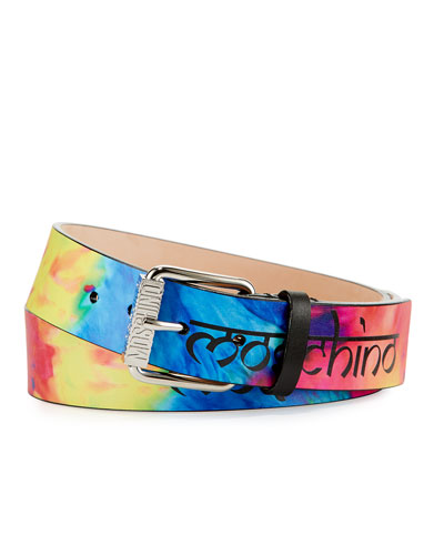 Men's Tie-Dye Leather Belt, Multicolor