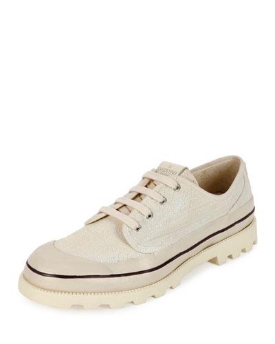 Men's Canvas Eyelet Oxford Shoe, Beige