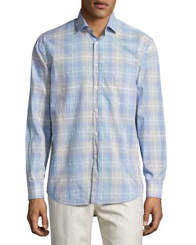 John Plaid Sport Shirt, Blue/Gray