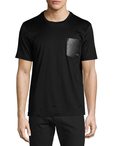 Gancini Leather-Pocket T-Shirt, Black