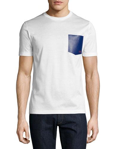 Gancini Leather-Pocket T-Shirt, Bianco (White)