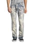 Demon Drainage Acid Bleached Slim-Straight Jeans, Indigo