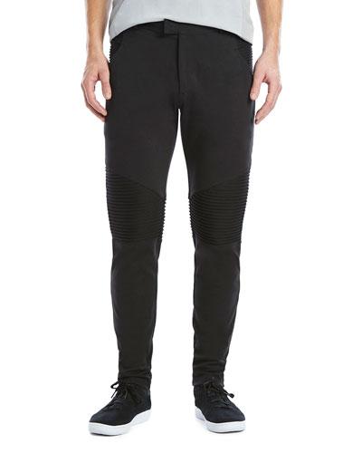 Stretch-Knit Moto Pants, Black