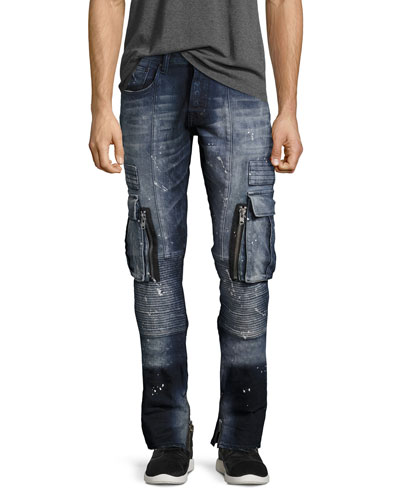 Windsor Skinny Stretch Moto Jeans, Icecap