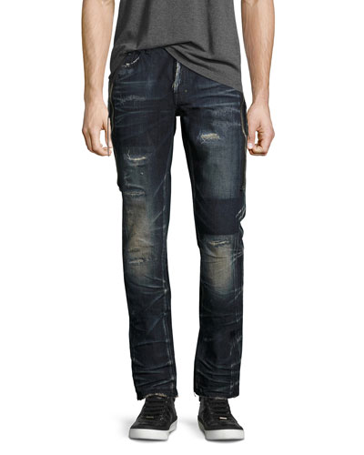 Demon Dark Wash Slim Jeans with Zipper, Fossil