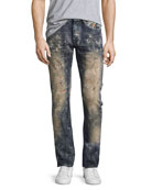 Demon Erosion Paint Splatter Slim Jeans, Indigo