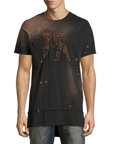 Embroidered Cherub Elongated T-Shirt, Black