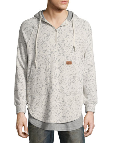 Fissure Double-Layer Burnout Hoodie, Gray
