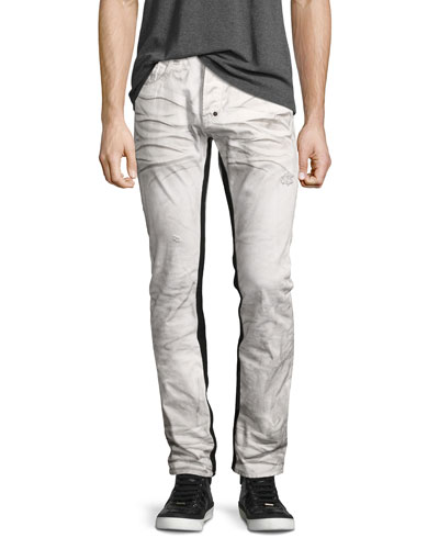 Demon Binary Slim-Straight Jeans with Tuxedo Stripe, White