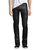 Demon Double Star Coated Moto Slim-Straight Jeans, Black