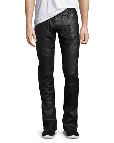 Demon Double Star Coated Moto Slim-Straight Jeans, Black
