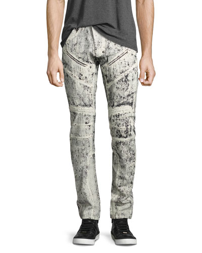 Demon Exobiology Heavy Painted Moto Slim-Straight Jeans, White
